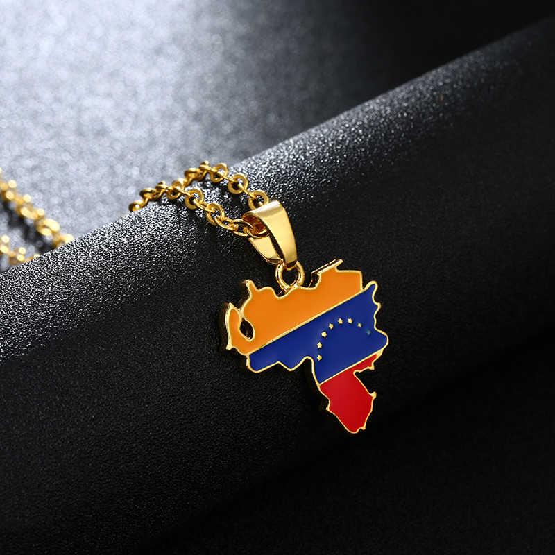 569e9678e4 ... SONYA Venezuela mapa y bandera colgante de collar para las  mujeres hombres de oro de ...