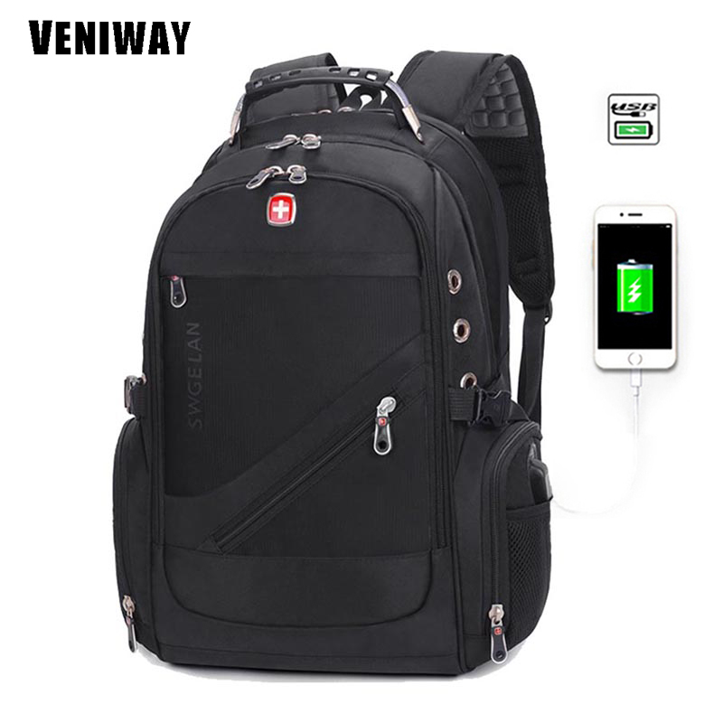 VENIWAY Waterproof Men's Backpack Swiss Brand Gear Military Backpacks 15 inch Laptop Bag USB Charge Nylon Rucksack Sac A Dos swisswin black business backpack male swiss military 15 6 computer bag mochila masculino orthopedic backpack sac a dos sw6007v