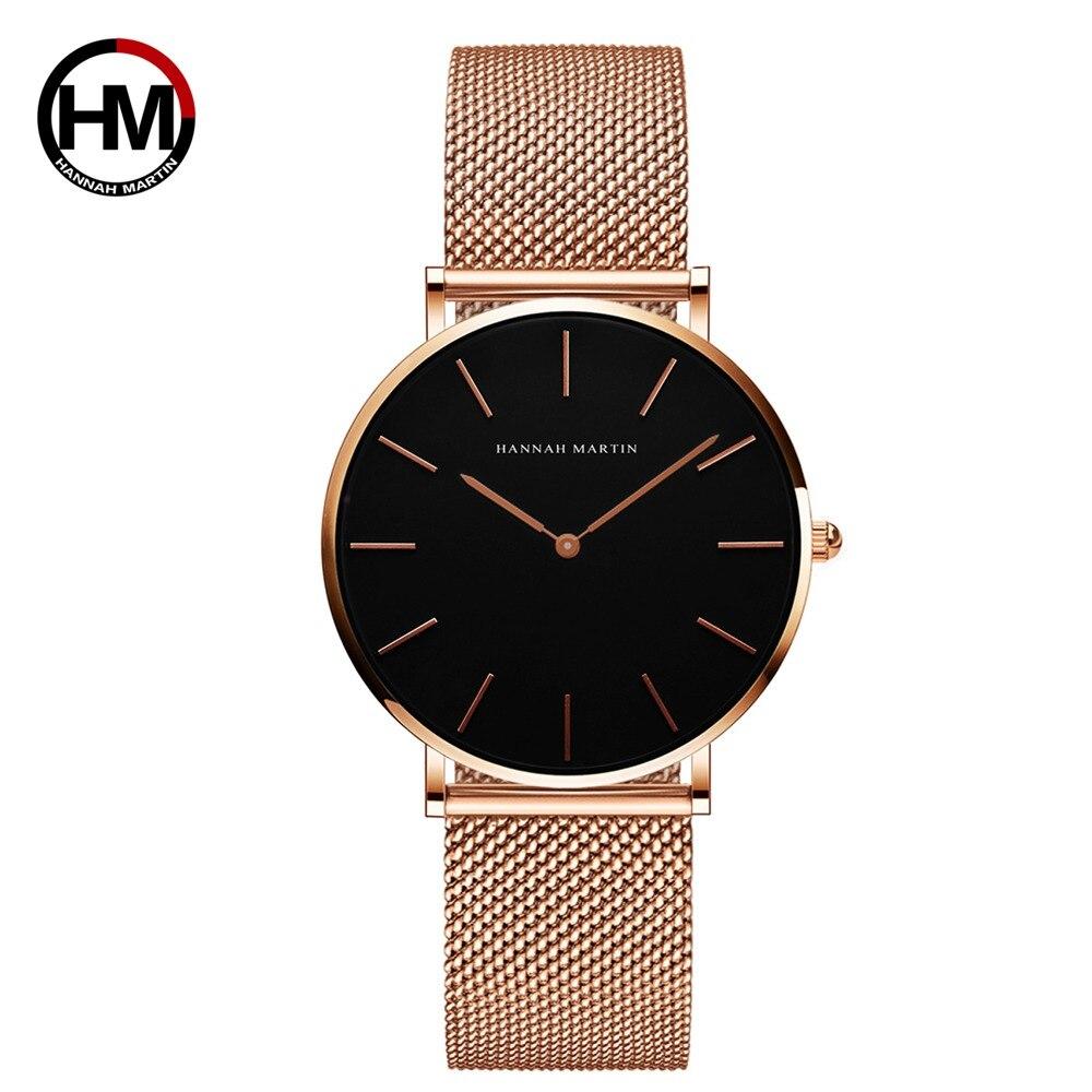 Marca de Luxo Ouro à Prova Relógio Feminino Hannah Martin Estilo Mulher Relógios Aço Inoxidável Malha Rosa Dwaterproof Água Senhoras Quartzo dw