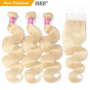 ISEE HAIR Body Wave 613 Bundles With Closure Brazilian Hair Weave Bundles Virgin Human Hair Blonde Bundles With Closure