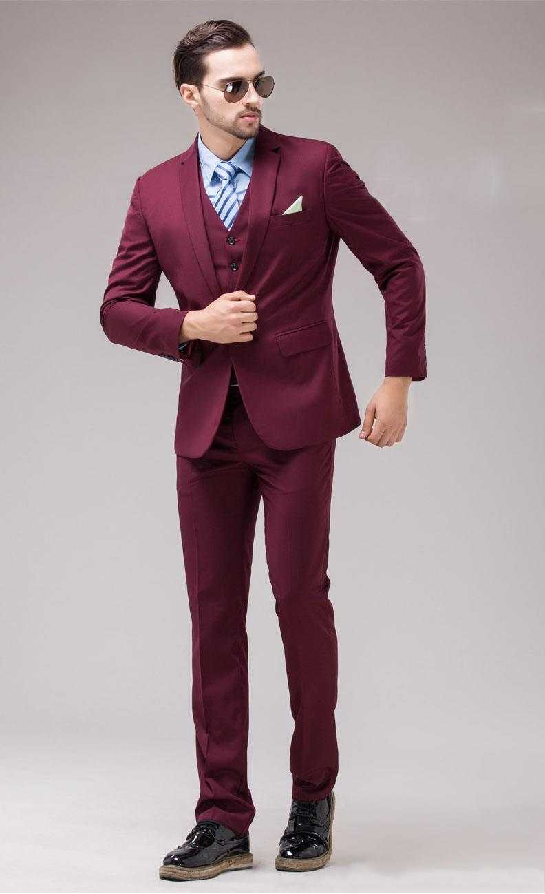 Mens Maroon Suit Dress Yy