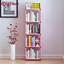 COSTWAY Fashion Simple Non-woven Bookshelves Four-layer Dormitory Bedroom Storage Shelves Bookcase Boekenkast Librero W011