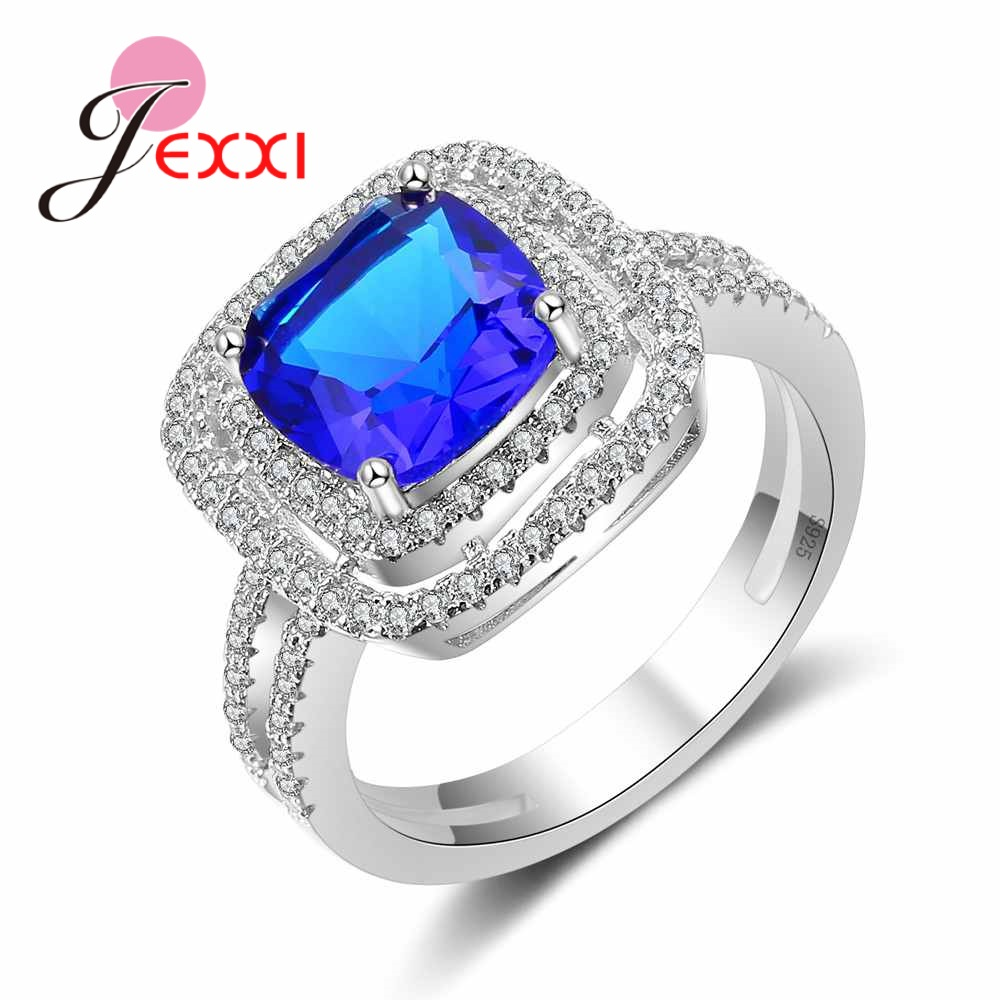 JEXXI Fashion Wedding Rings For Women 925 Sterling Silver Luxury Blue CZ Cubic Zirconia Square Finger Rings Men Bague Big Sizes