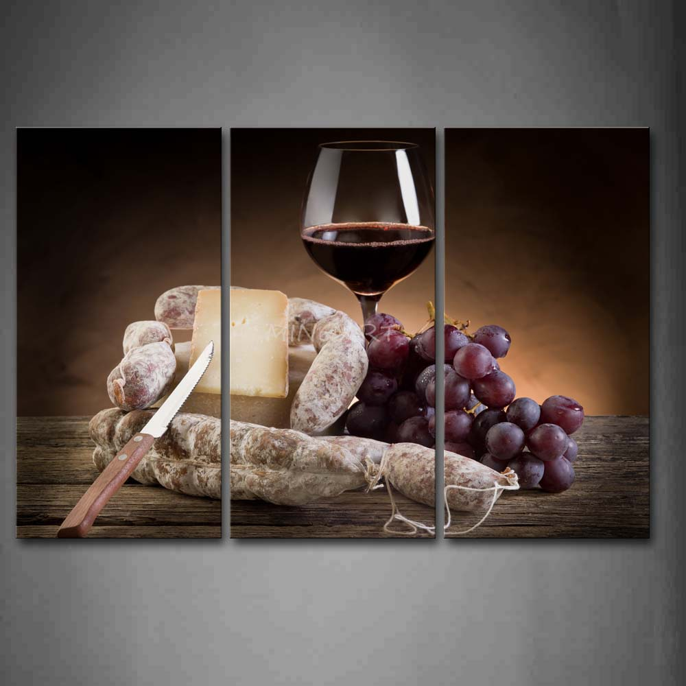 3 Piece Wall Art Painting Grapes And Red Wine With font b Knife b font Picture