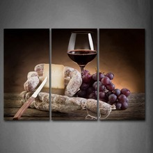 3 Piece Wall Art Painting Grapes And Red Wine With Knife Picture Print On Canvas Food 4 The Picture Home Decor Oil Prints