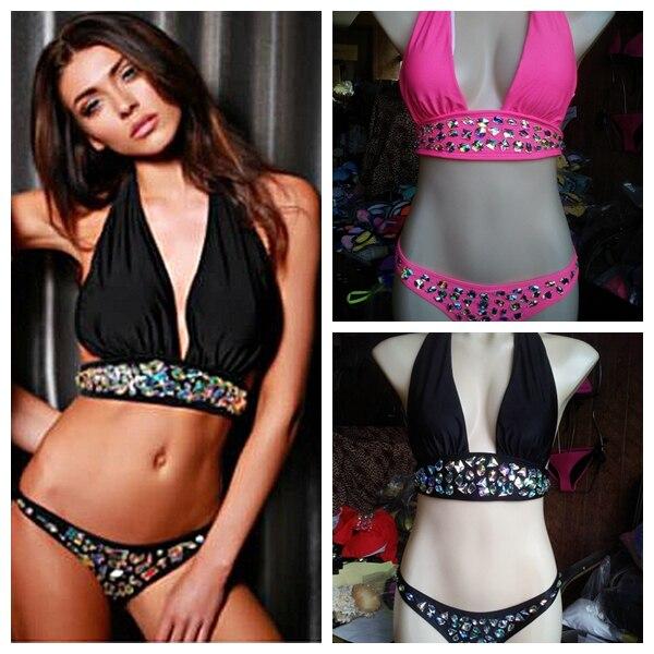 2015 Նոր ժամանումը թոփ սեքսուալ ընդմիշտ ադամանդե լողազգեստ երկու կտոր սև և վարդագույն լողազգեստ բիկինի