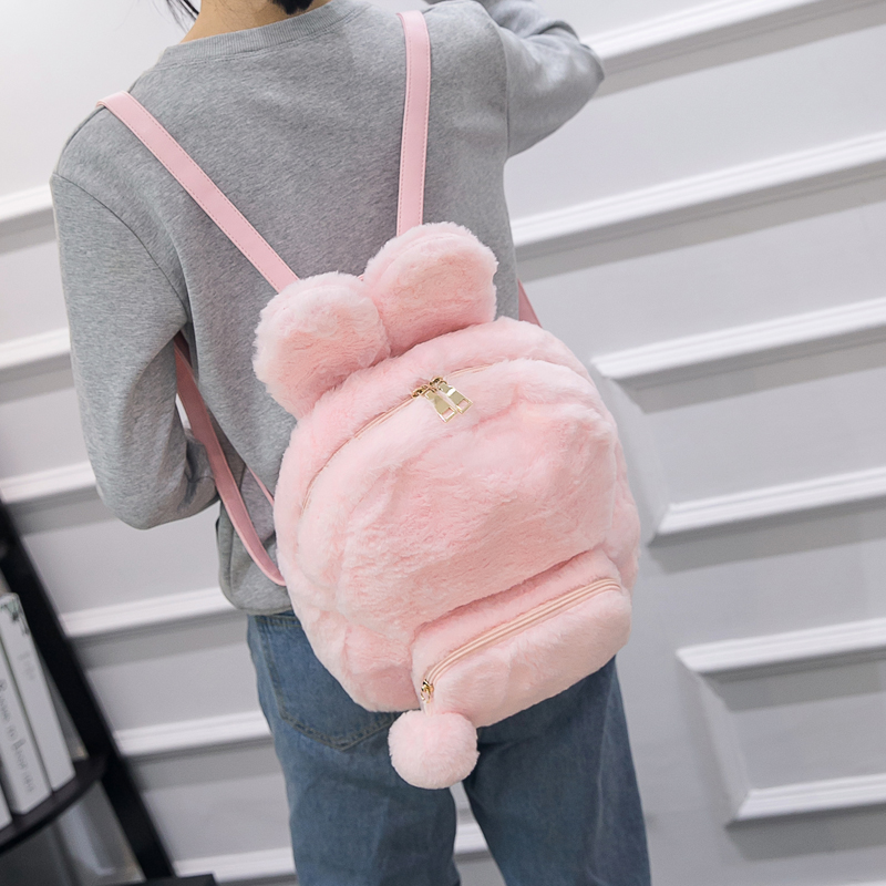 Japanese Procurement Cute Soft Sister Backpack in stock Lovely Fluffy Bending Ears Rabbit Backpack Black Pink White Color Bag