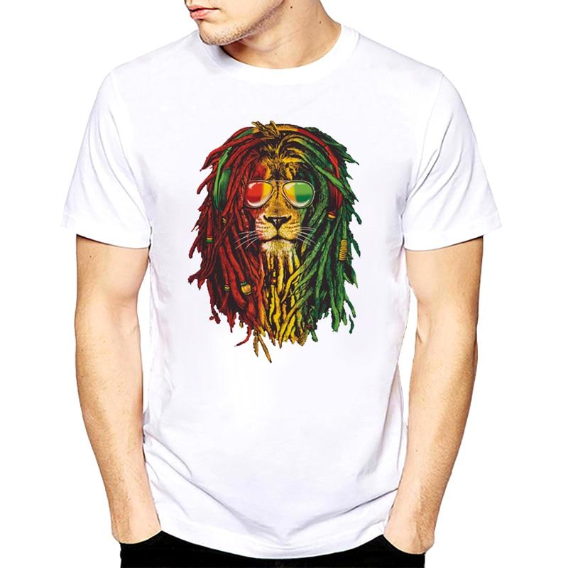 Faire T Chemises Rasta Lion t-shirt Rastafari Jamaïque Juda O-cou À Manches Courtes Mode 2018 T-shirts Pour Hommes s -XXXL