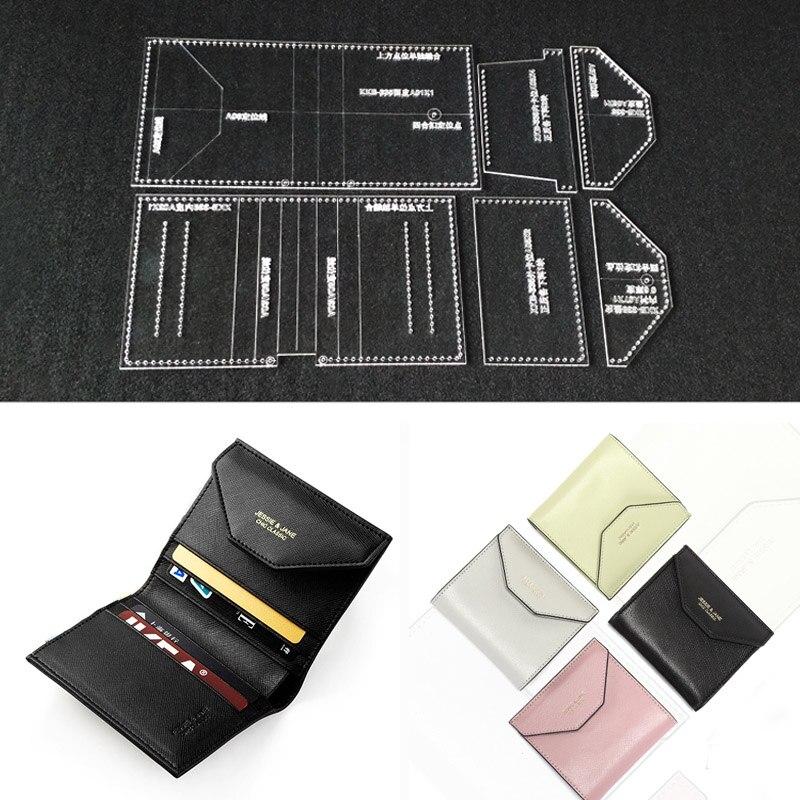 463afd25 Patrón de plantilla acrílica transparente de corte láser para cartera corta  hecha a mano de bricolaje bolso de mensajero de cuero artesanal patrón de  ...