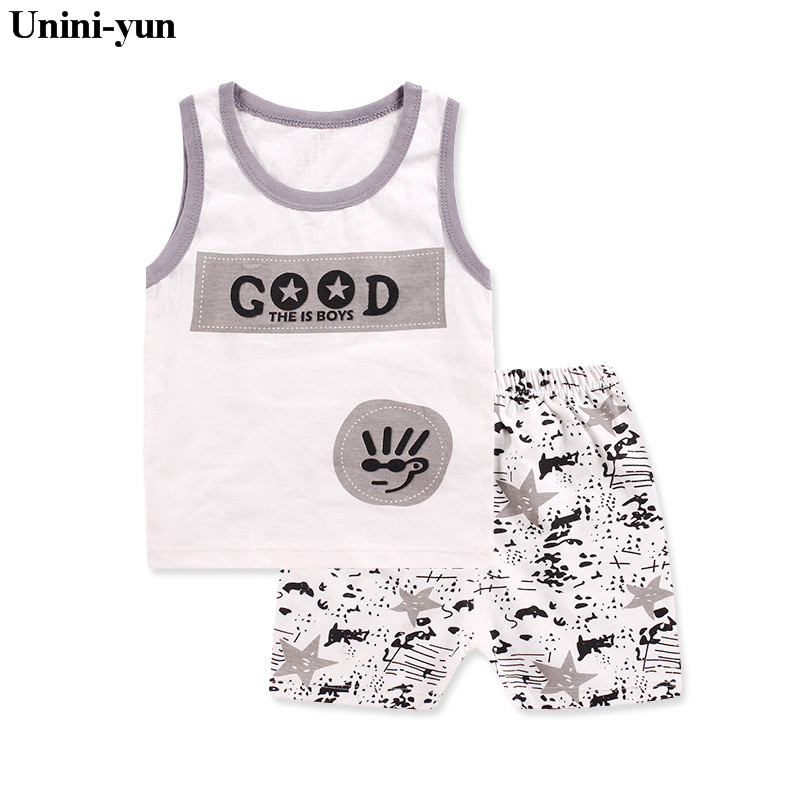 Unini-yun Store Unini-yun Baby Boys Girls Clothing Set Children Vest + Pants Set Kids Cartoon Clothes Casual Suits  2017 Summer Infant clothes