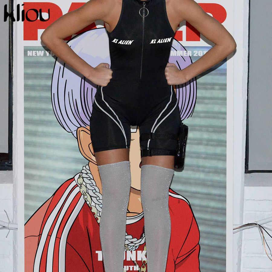 Kliou Новый женский эластичный боди комбинезон с воротником на молнии с буквенным принтом облегающий спортивный костюм без рукавов
