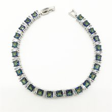 Sterling Silver Jewelry Blue Rainbow Mystic White Women Link Chain Bracelets Free shipping(China)