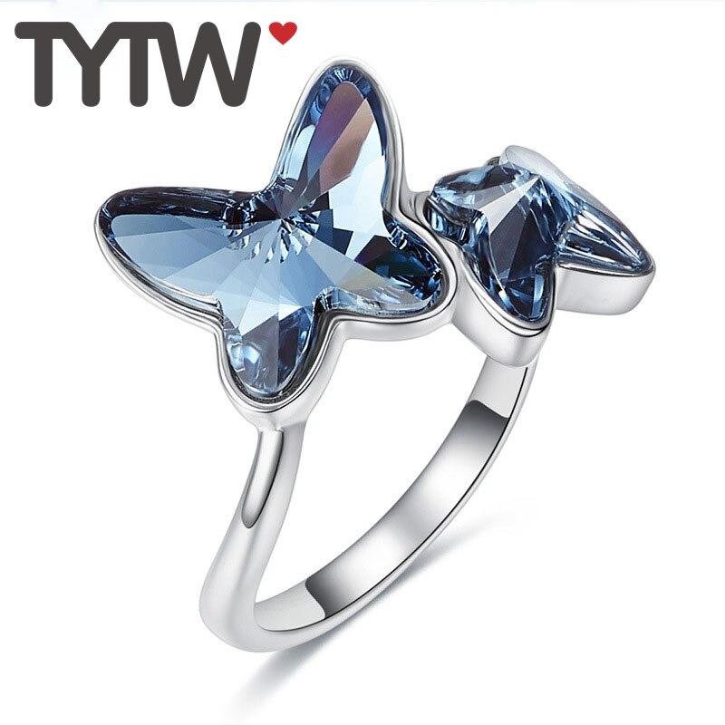 TYTW romantique cristaux de l'autrichien S925 bague en argent Sterling anniversaire fiançailles femmes papillon taille libre bague de Cocktail