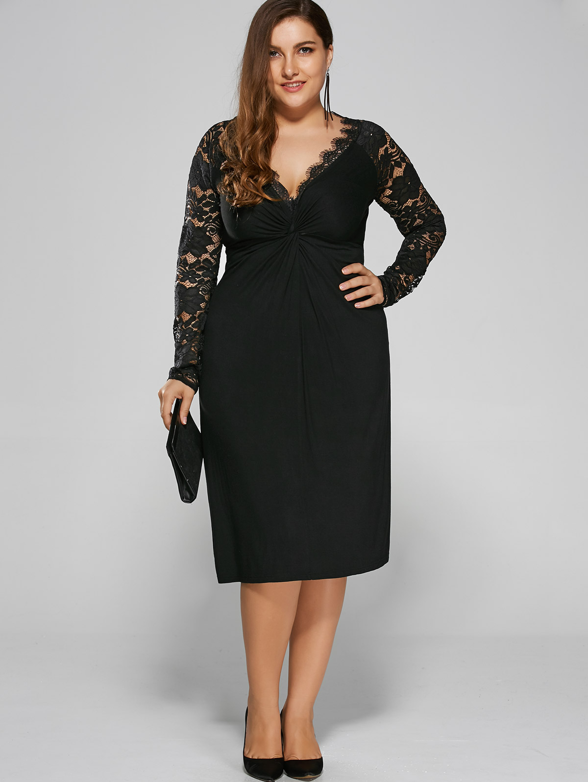 962b21b2073 Gamiss Women Black Holiday Formal Party Bodycon Sexy Dress Plus Size Twist  Front Formal Dress With Lace Sleeves Big Size XL-4XL