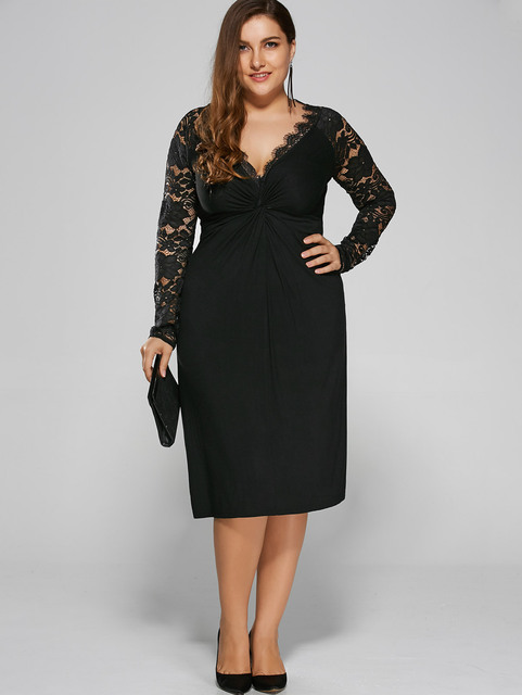 d5b54b98bac Gamiss Women Black Holiday Formal Party Bodycon Sexy Dress Plus Size Twist  Front Formal Dress With Lace Sleeves Big Size XL-4XL