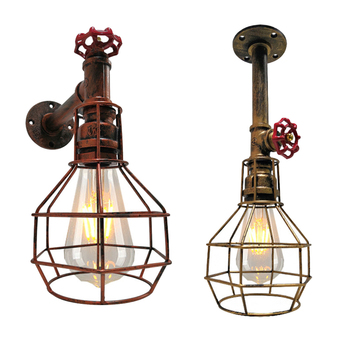 sgrow robot table lamp creative loft iron pipe lamp desk light for bedroom beside light cafe bar lampara de mesa water pipe lamp Creative Water Pipe Cage Wall Lamp Retro Iron Industrial Wind E27 Wall Light For Apartment Cafe Clothing Store Restaurant Bar