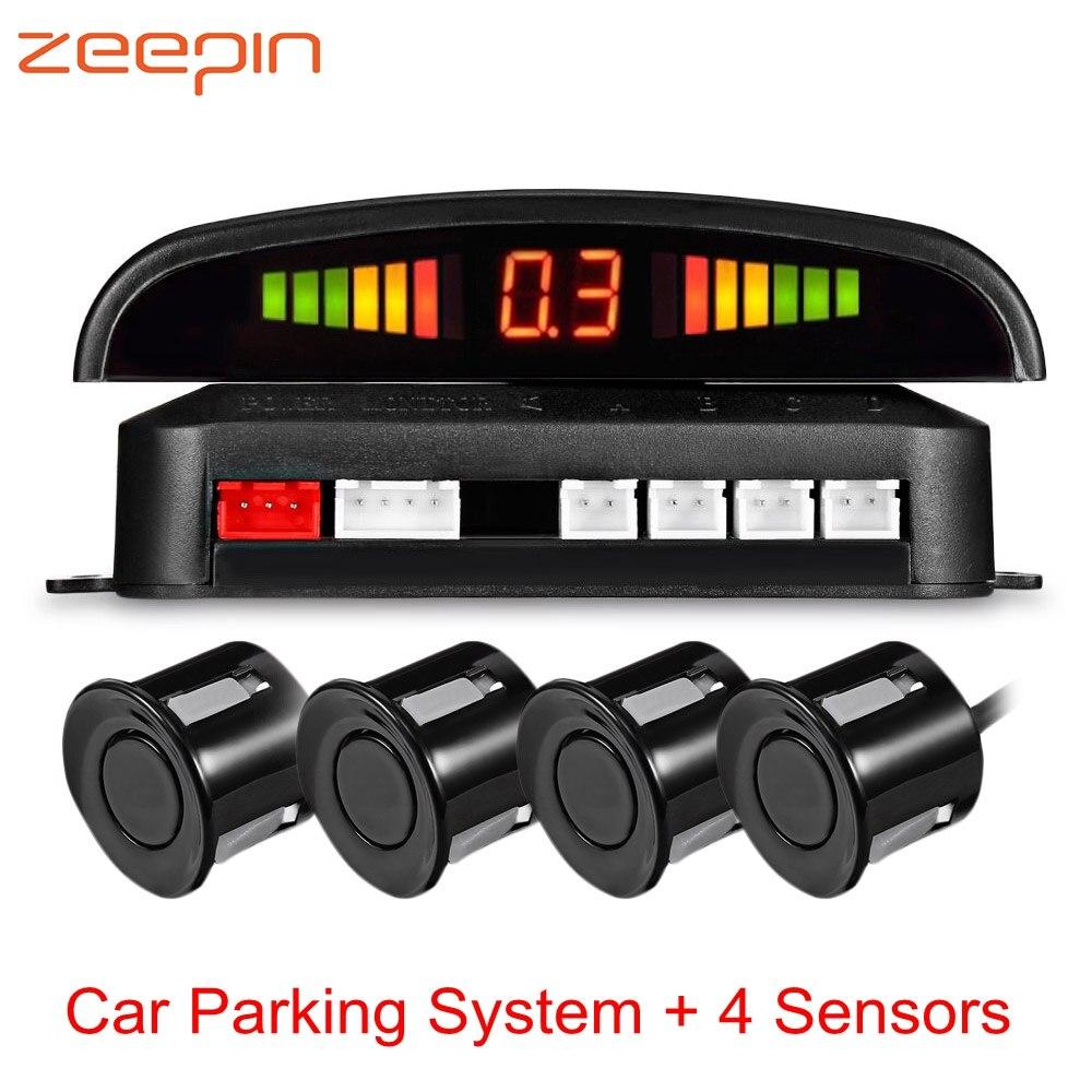 Coche Sensor de aparcamiento con 4 sensores de Parktronic LED de copia de marcha atrás de aparcamiento de coche Monitor Radar Detector de distancia de sistema de alarma