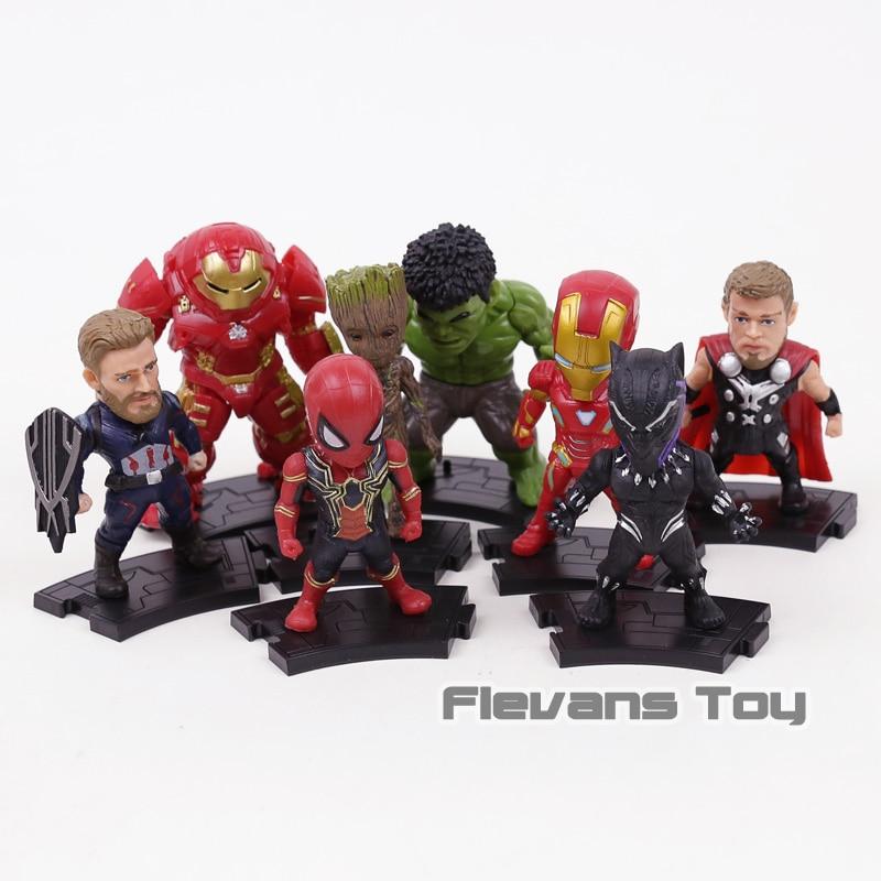 Avengers Infinity War Figure IN PVC Giocattoli Iron Man Capitan America Spiderman Hulk Pantera Nera Albero Man Hulkbuster Thor 8 pz/set
