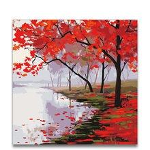 Peinture À L\'huile Arbre Rouge Promotion-Achetez des ...