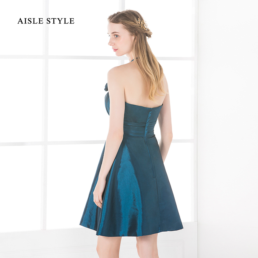 Aisle style 2017 juniors bridesmaid dresses pretty short halter aisle style 2017 juniors bridesmaid dresses pretty short halter pleated taffeta teal young girl bridesmaid dress with flower in bridesmaid dresses from ombrellifo Image collections