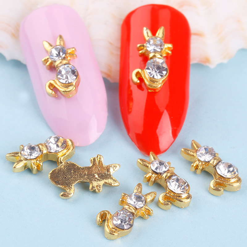 Blueness 10Pcs/lot 3D Nail Art Supplies Alloy Decorations Charms Jewelry Gold Cat Design For Glitter Rhinestone Studs DIY TN1069 blueness 10pcs nail art decoration charms glitter rhinestone for strass silver alloy bow design adhesives studs accessory tn172