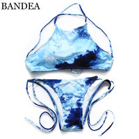 2015 Bikinis Swimwear Padded Summer Style Swimming Suit Halter Printed Swimsuit Bikinis Set Women High Neck