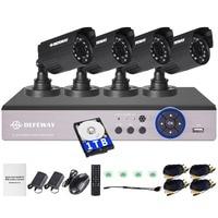 DEFEWAY CCTV System Kit 4CH FULL D1 960H 720P 1080P DVR NVR Hybrid DVR Without HDD