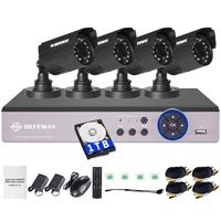 DEFEWAY 1200TVL 720P HD Outdoor Security Camera System 1TB Hard Drive 4CH 1080N DVR CCTV Surveillance Kit AHD Camera Set