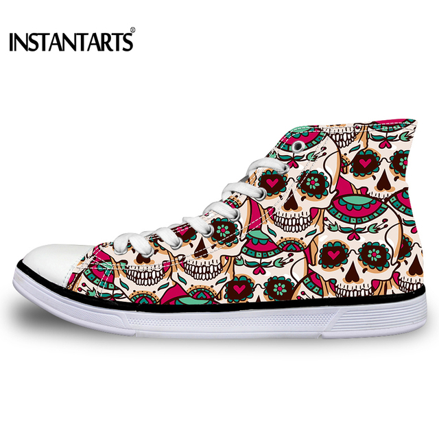 INSTANTARTS Women's High Top Skull Vulcanized Shoes Fashion Women Casual Lace-up High-top Canvas Shoes for Female Ladies Student