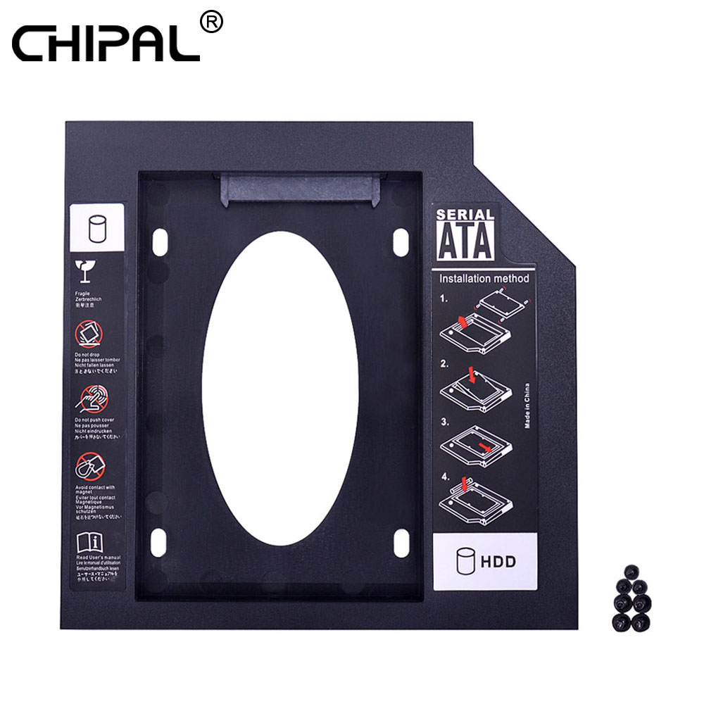 CHIPAL 2nd HDD Caddy 9.5mm SATA 3.0 For 2.5'' 9mm 7mm SSD Case Hard Disk Drive Enclosure Adapter For Laptop CD DVD ROM Optibay
