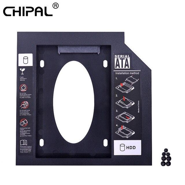 CHIPAL 2nd HDD Caddy 9,5mm SATA 3,0 para 2,5 ''9mm 7mm unidad de disco duro adaptador de carcasa para ordenador portátil CD DVD ROM Optibay