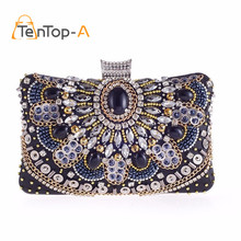 hot deal buy new high quality flap lady diamonds evening bags women's luxury banquet party day clutches with shoulder chains crossbody bags