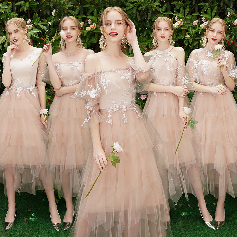 New Elegant Bridesmaid Dresses 2019 Short For Children Girl Wedding Party Prom Dresses A Line Sisters And Reflective Dresses