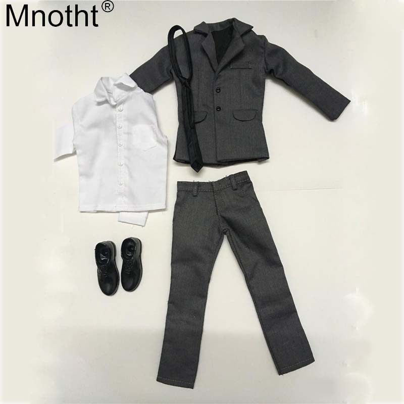 Mnotht 1/6 Male Gray Set Suit Clothing Accessories Shirt pants Model Toy For 12 PH Soldier Action Figures Doll Collection ma mnotht 1 6 action figure panzer third