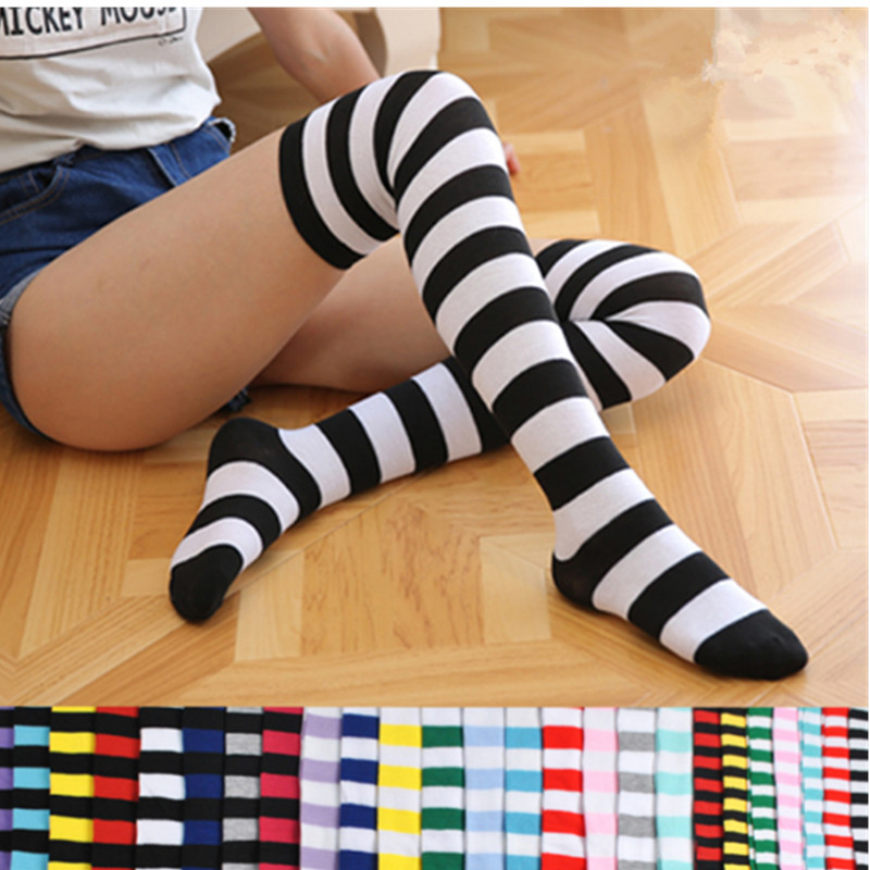 1Pair New 4 Colors Women Girls Over Knee Long Stripe Printed Thigh High Striped Patterned Socks Sweet Cute Warm Wholesale Lot