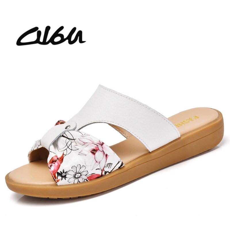 O16U 2018 Summer Slippers shoes women sandals genuine leather flower beach sandals shoes ladies fashion flat slides flip flops