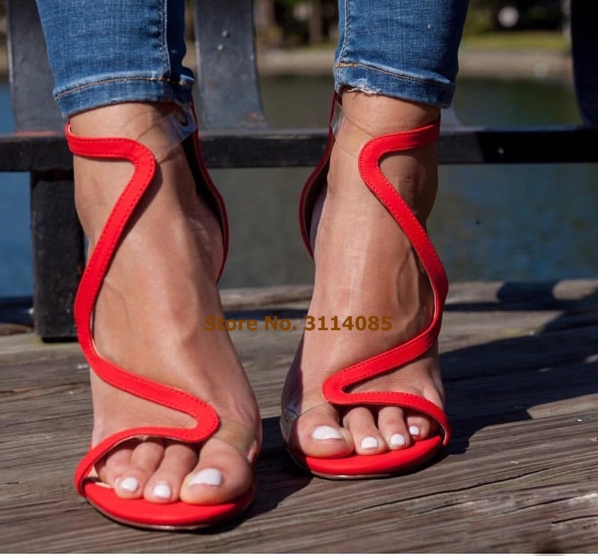 Women Exquistie Red Sude S Shape Gladiator Sandals Clear PVC Strap Patchwork Wedding Shoes Stiletto Heels Banquet Pumps Sale in High Heels from Shoes