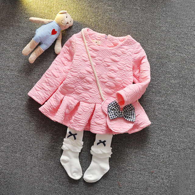 Little girl dresses 2016 autumn children clothes dressed Princess children dress children dresses for girls Clothes + bag 2 sets