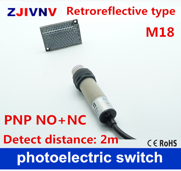 US $23.75 5% OFF|M18 Retroreflective type PNP NO+NC DC 4 wires photoelectric on