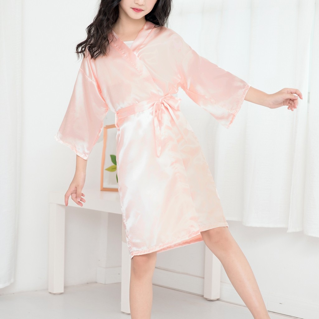 Casual Solid Infant Children Girls Summer Robes Toddler Baby Kids Girls Solid Silk Satin Kimono Robes Bathrobe Sleepwear Clothes(China)