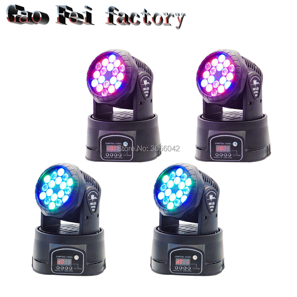 4pcs/lot 18x3W RGB Color LED Wash Beam Moving Head Mini DJ Stage Lighting DMX 13 Channels4pcs/lot 18x3W RGB Color LED Wash Beam Moving Head Mini DJ Stage Lighting DMX 13 Channels