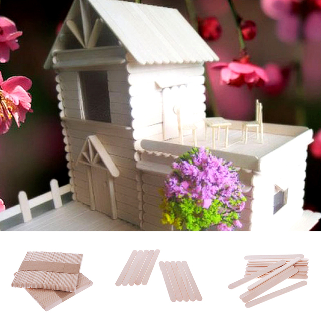 Hot 48Pcs Wooden Popsicle Stick Kids Hand Crafts Art Ice Cream Lolly Cake DIY Making Funny