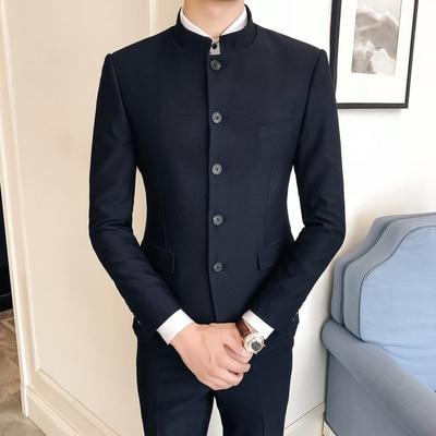 Men Suit Designers 2018 Mandarin Collar Slim Fit 2 Pieces Complete Suits For Men Groom Wedding Tuxedo Terno Costume Mauchley