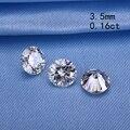 Teste positivo 3.5mm 0.16ct moissanites forma redonda pedra solta pérolas sintéticas para anéis de noivado preço de varejo