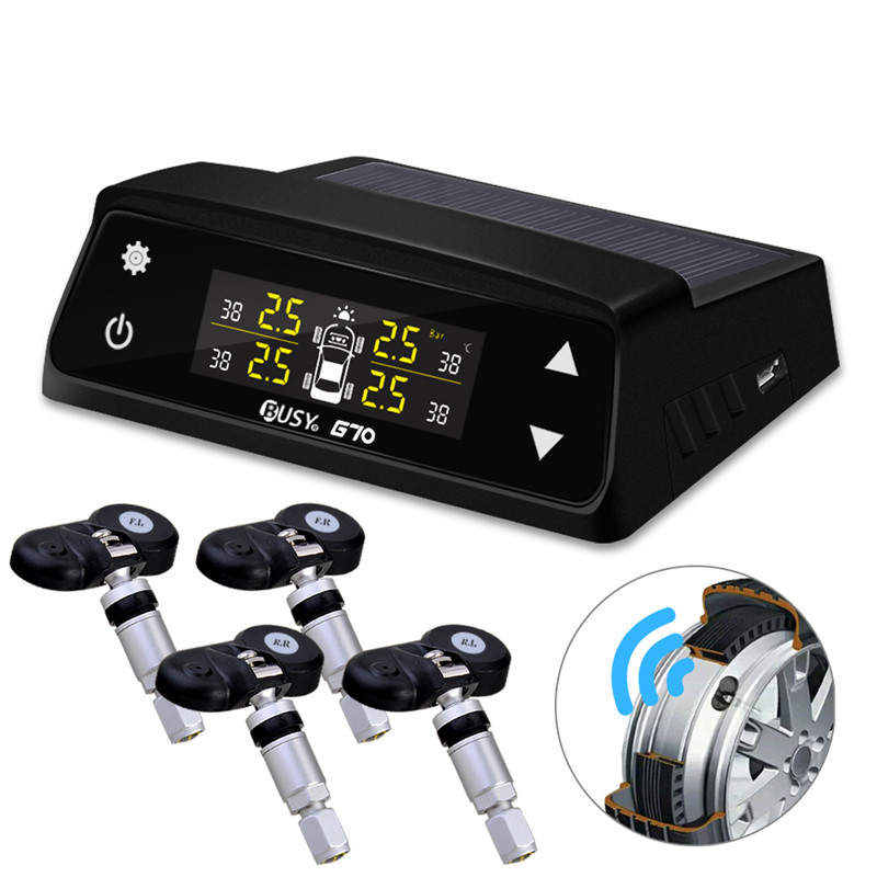 Wireless Car Tire Pressure Temperature Monitoring System Four Internal Tyre Sensors Solar Powered LCD Display PSI Bar Alarm TPMS цены онлайн