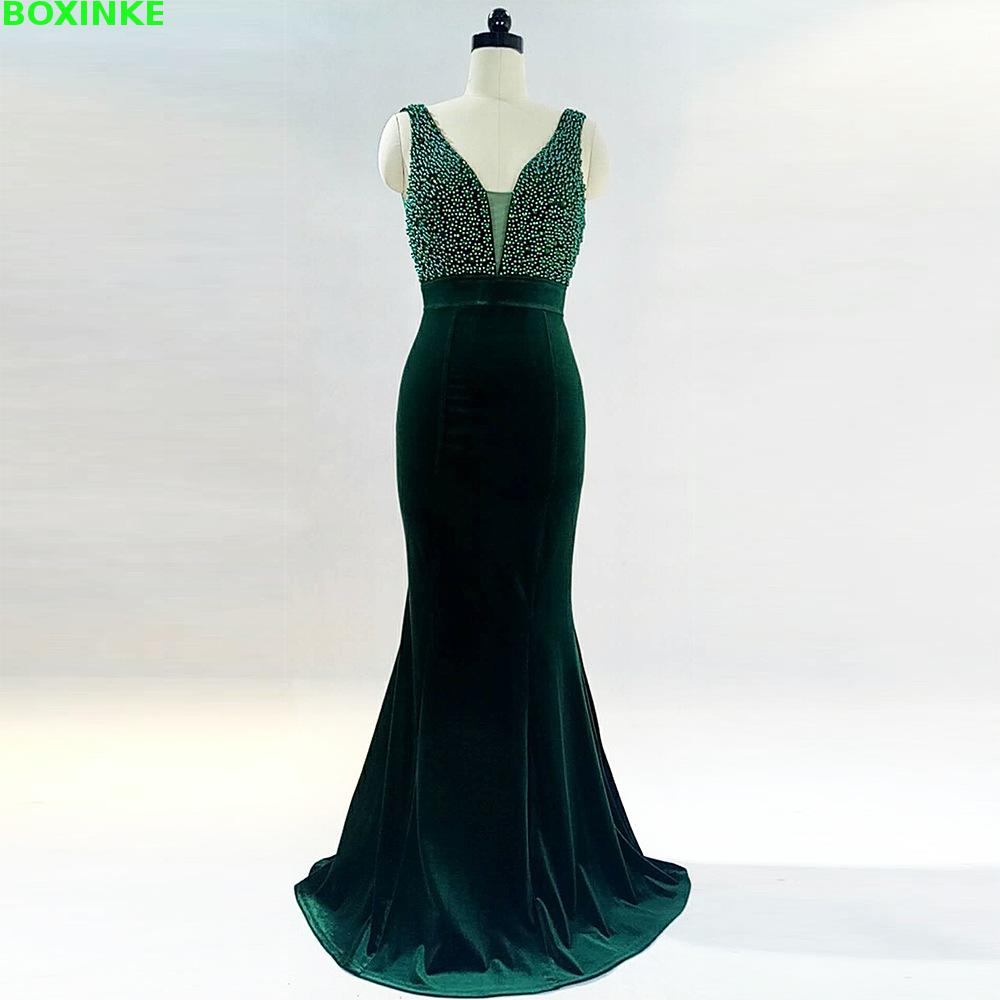 2019 Robe Plus Size Dress Maxi New Deep V Fish Tail Long Sexy Evening Chair Of