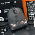 Женская мода рюкзаки кожа школьные сумки для подростков девочек заклепки молнии минималистский твердые роскошные женский рюкзак