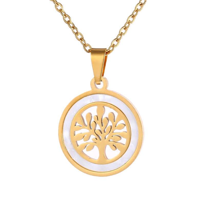 อินเทรนด์ Tree of Life สแตนเลสรอบจี้สร้อยคอทอง/เงิน Bijoux Collier Elegant ผู้หญิงเครื่องประดับของขวัญ