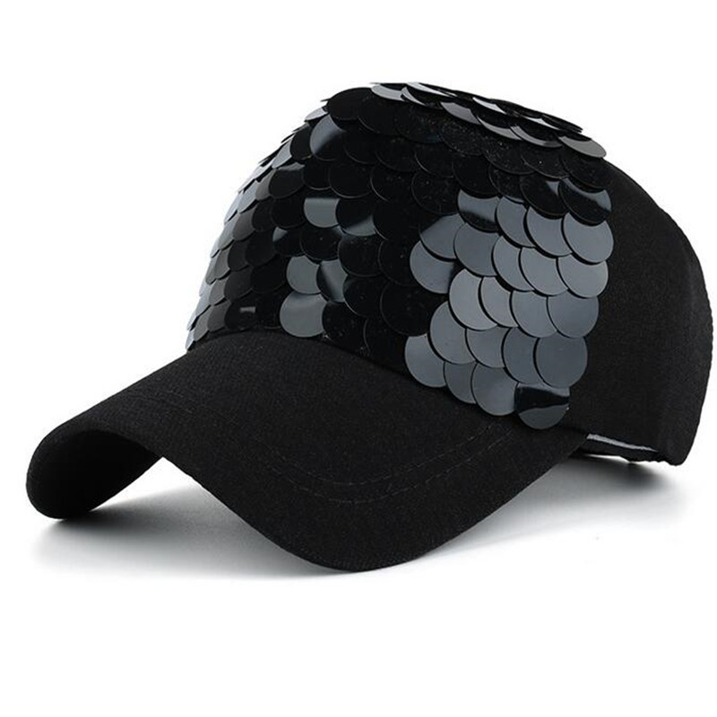 ad8f3bf3208 New Summer Women Baseball Cap Bling Fish Scales Sequins Hip Hop Cap Vintage  Snap Back Design Cap Casual Snapback Hat Casquette-in Baseball Caps from  Women s ...