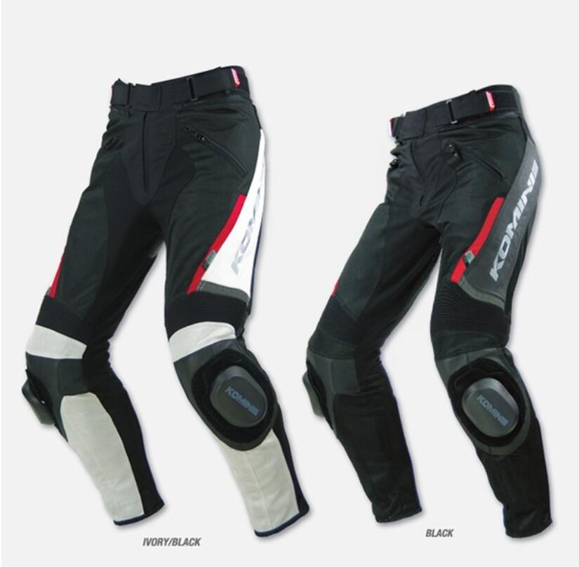 Hot Sale! 2018 New Leather Komine PK717 Summer Style Mesh Fabric Leather Motorcycle Racing Pants Specials No Grinding Block.